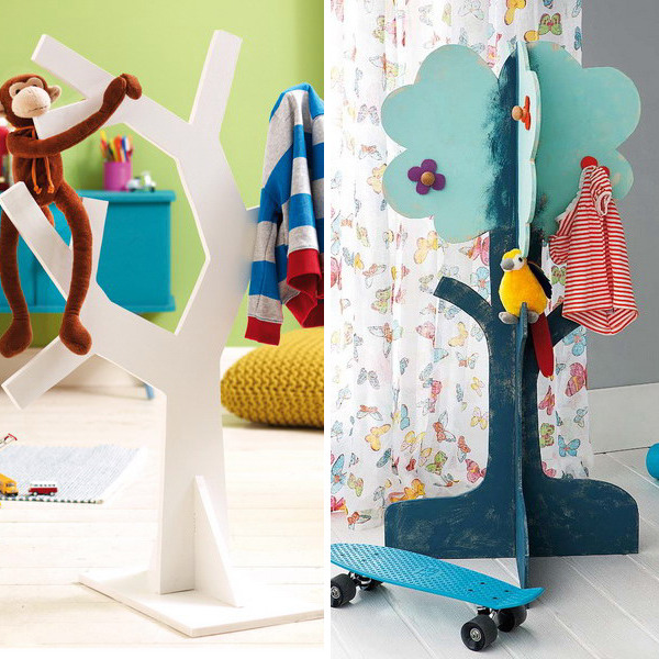 diy-tree-clothing-racks-in-kidsroom