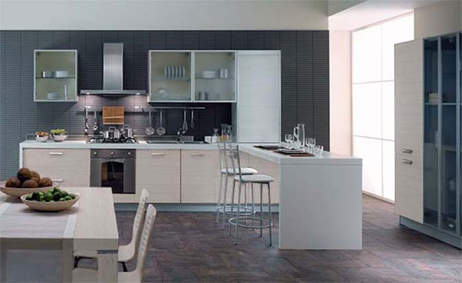 Contemporary-light-kitchen-with-white-countertop-door-cabinets-wood-white-table-and-chairs