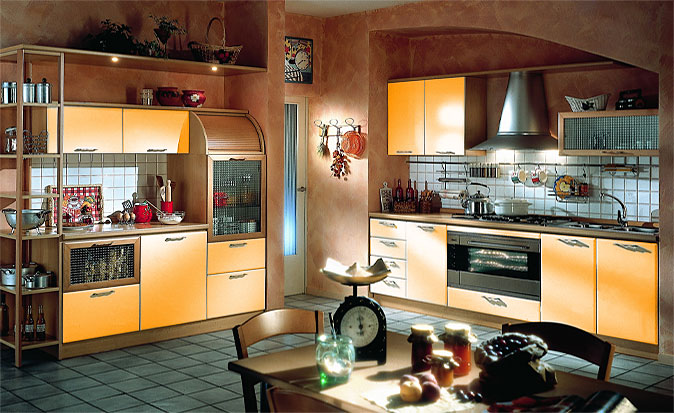 Design-of-sample-light-kitchen-with-yellow-cabinet-and-drawers-stove-and-wood-table-and-chairs