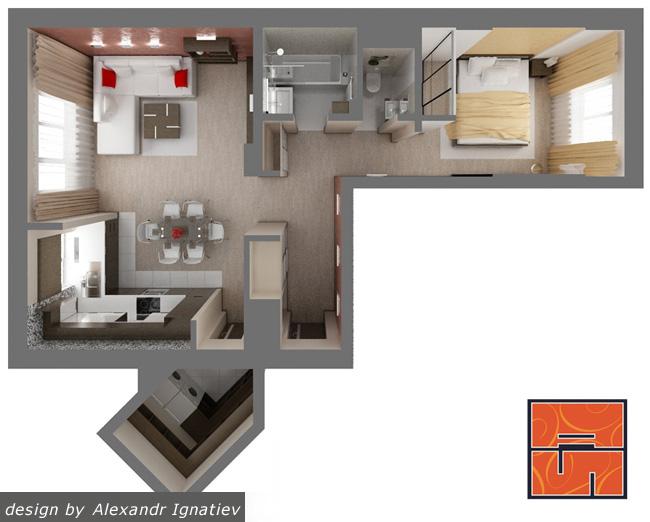 План 2-х комнатной квартиры