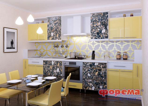 Теплые и сияющие желтые кухни модели