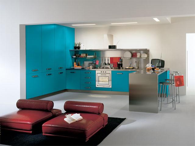 Фото синей кухни.