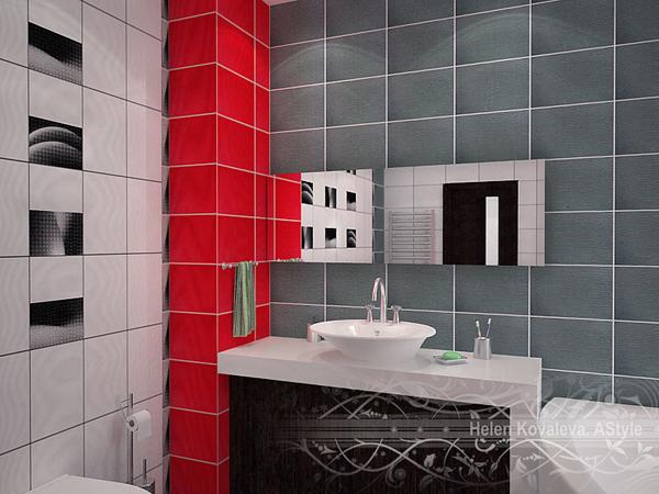 ديكورات حمامات باللون الاحمر والابيض والاسود والوردى خياال اروع