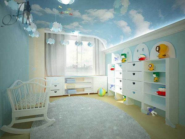 ...а что вы на потолок в детской делаете? поделитесь идеями. в нете столько красоты)). а у вас какая тематика комнаты?