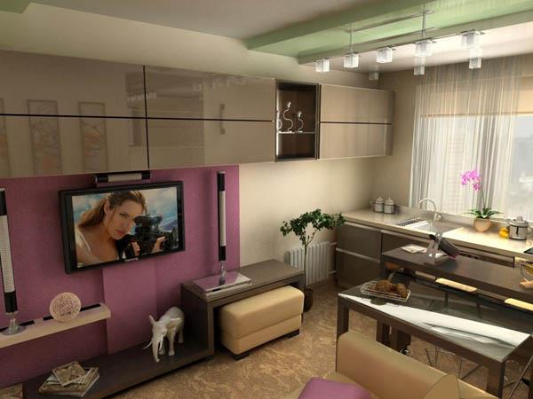 Интерьер маленькой кухни гостиной фото