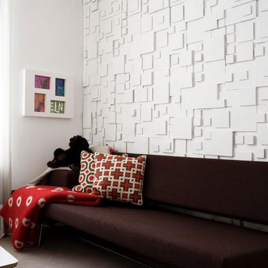 Объемная стена в интерьере