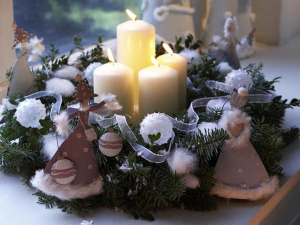 Украшение свечей на новый год своими руками