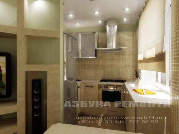 Интерьер кухни гостиной в хрущевке.