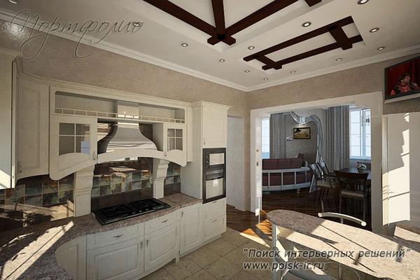 гипсокартонные потолки на кухне фото