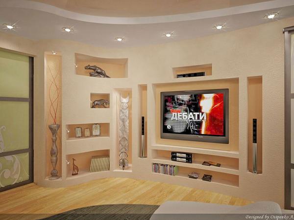 Стенка в зал своими руками из гипсокартона фото