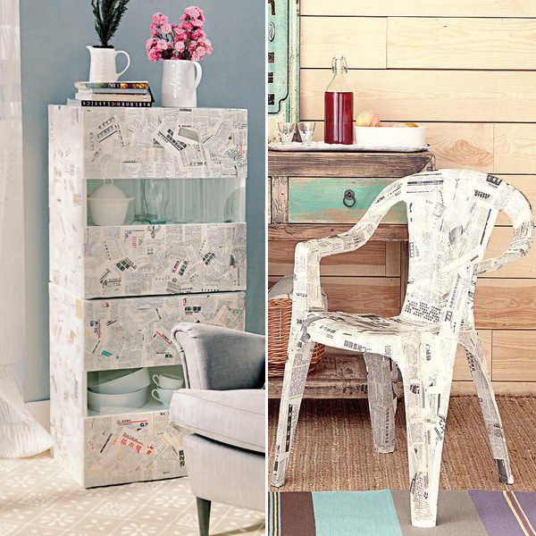 diy-decoupage-furniture-from-old-newspapers