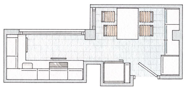 small-narrow-kitchen-with-dining-table-plan
