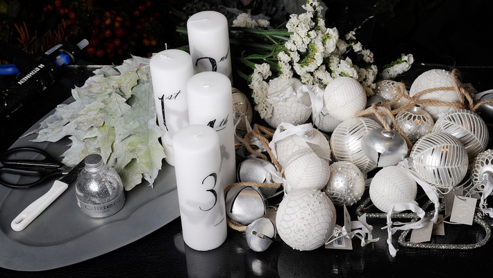 white-silver-christmas-floral-centerpiece-materials