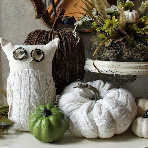 diy-owl-and-pumpkin-from-old-white-sweater