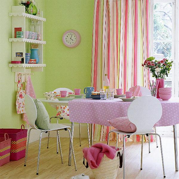 Зеленый розовый цвет в интерьере