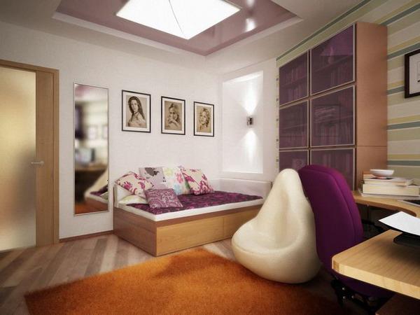 Дизайн маленькой комнаты для девушки подростка.