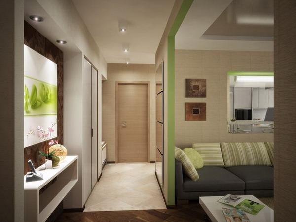 Дизайн кухни совмещенной с коридором