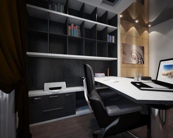 Кабинет поделен на две функциональные зоны: рабочая и зона отдыха.