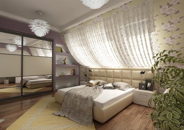 Дизайн спальни на мансарде.