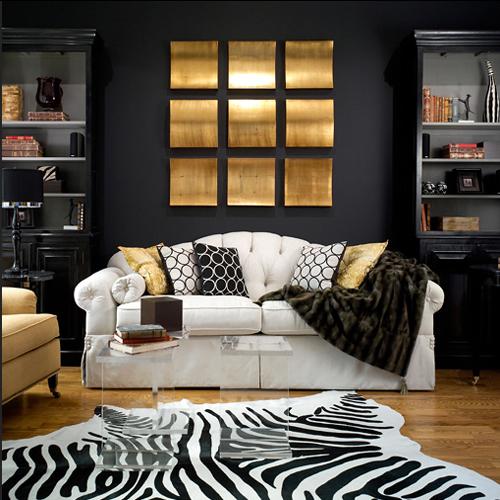Black furniture small living room zebra carpet