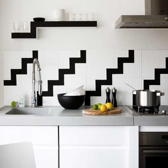 Кухни черно-белые дизайн фартук