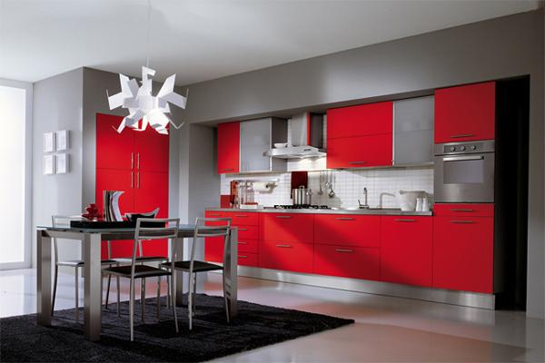 бело красные кухни фото