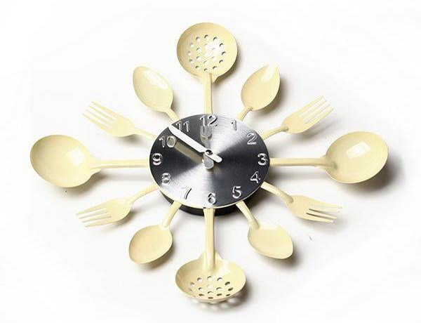 Часы на кухню своими руками из ложек 84