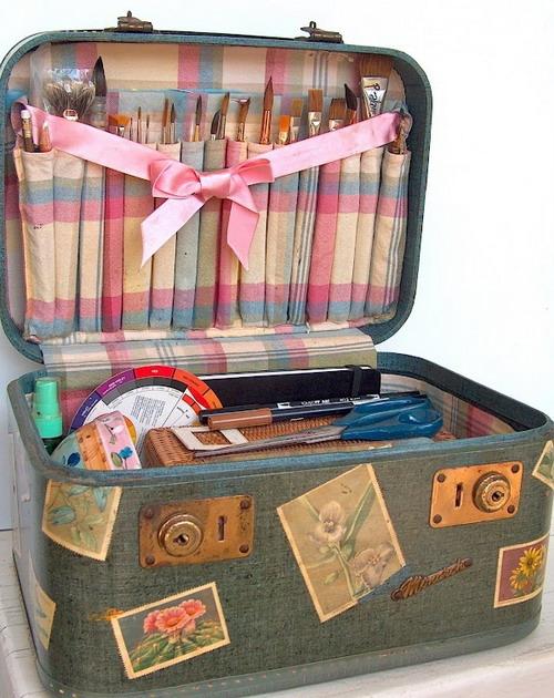 Фото нитки для вязания в чемодане