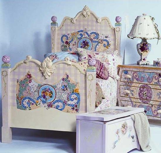 Декупаж старой кровати для девочки своими руками 31