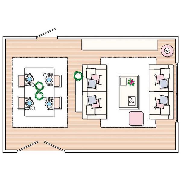 B tr c c ph ng l t ng cho c n h h nh ng for Living room zones