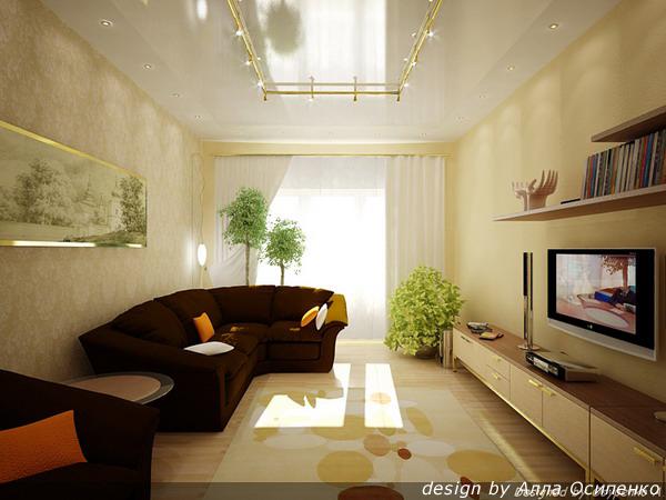 Ремонт в прямоугольной гостиной