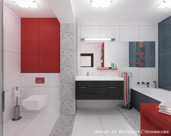 Цвет в ванной: сочетание красного и