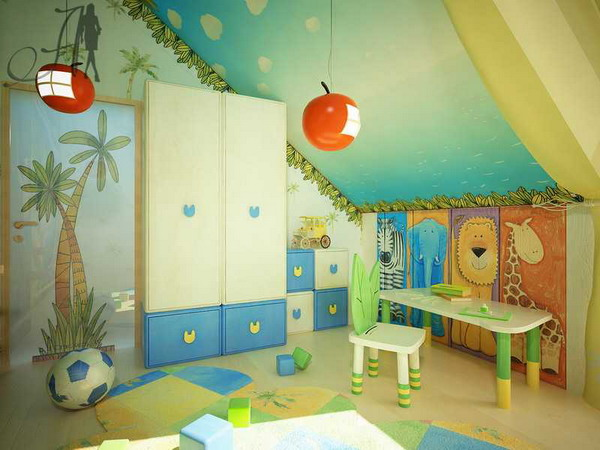 Дизайн детские в мансарде