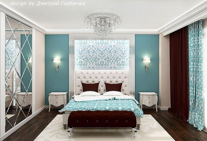 Бирюзовая спальня фото