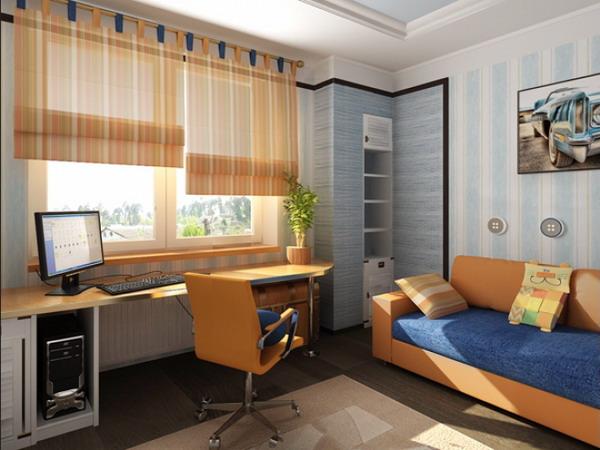 Окна в комнате подростка мальчика дизайн
