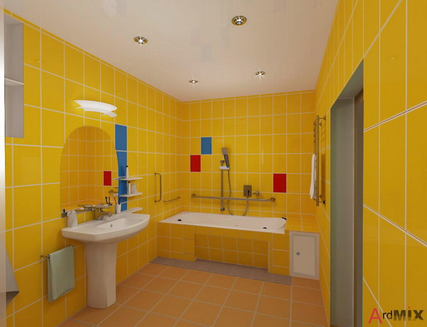 Perfect Master Bathroom With Yellow Mosaic Tile Tub This Master Bath Was