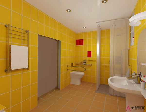 Brilliant 34 Retro Yellow Bathroom Tile Ideas And Pictures