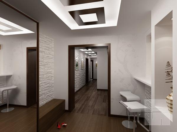 Дизайн коридора из декоративного камня