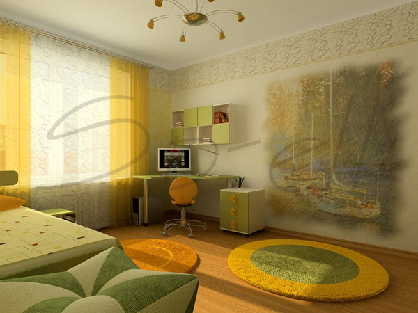 дизайн подростковой комнаты для девочки в современном стиле 15 кв.м