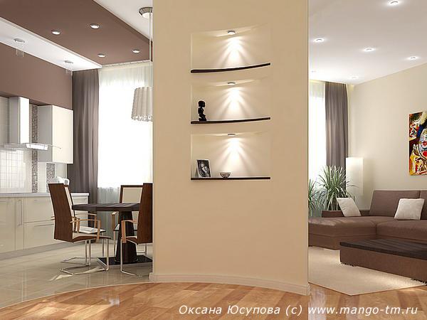Дизайн перегородки из гипсокартона между кухней и 10
