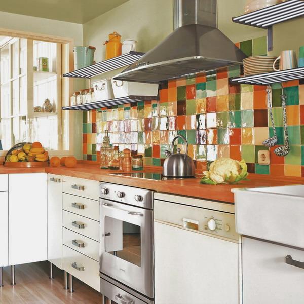 Разноцветная плитка в кухне: 37 фото примеров