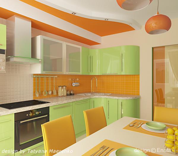 Дизайн кухни апельсинового цвета
