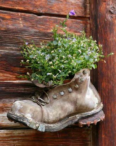 Трудно сказать, что выглядит оригинальнее: старый ботинок, сквозь прорехи которого просвечивает солома...
