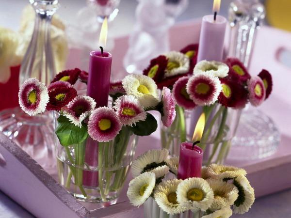 Оформление свечей цветами своими руками
