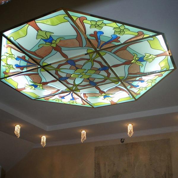 Витражный потолок с подсветкой своими руками 60