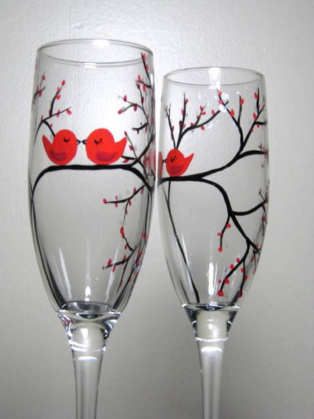 Wine glass painting on pinterest painted wine glasses for Painting while drinking wine